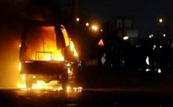 Unidentified setting fire to a police car Batalibah