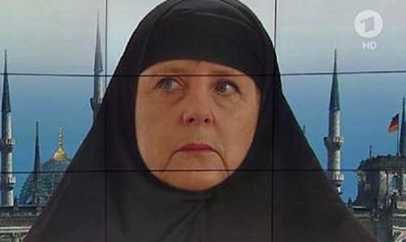 "Angry reactions because a picture "" Merkel"" Hijab"